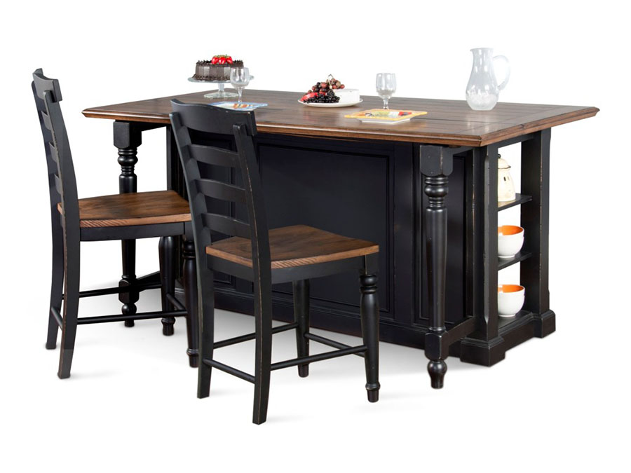 Bourbon Country Kitchen Island With Drop Leaf