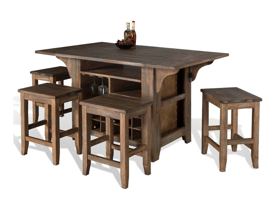 Puebla Kitchen Island With Drop Leaves Set