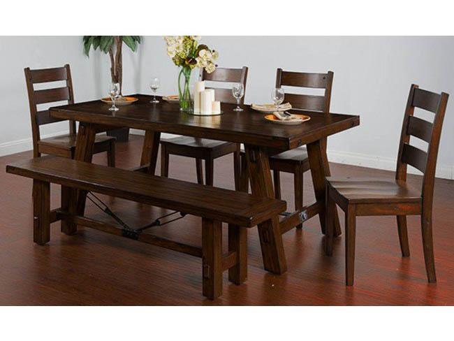 Vineyard Dining Set In Rustic Mahogany