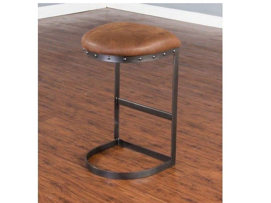 2pcs 30 Quot H Metal Stool W Brown Cushion Seat Shop For