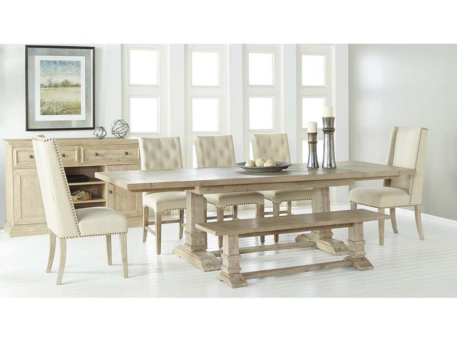 Hudson Extension Dining Set W/Wilshire U0026 Morgan Chair In Stone Wash