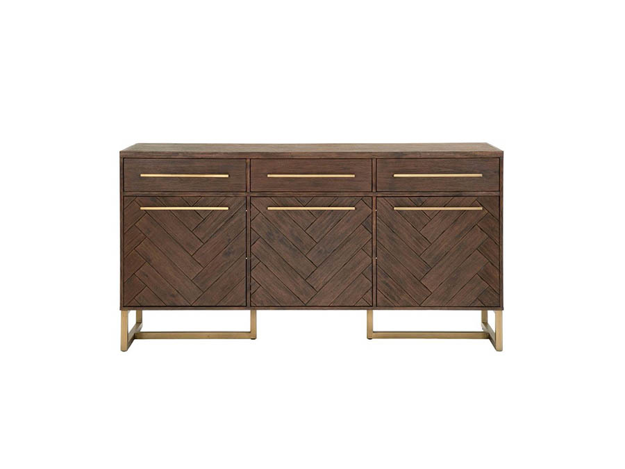 Traditions Mosaic Rustic Java Brushed Gold Sideboard Shop For