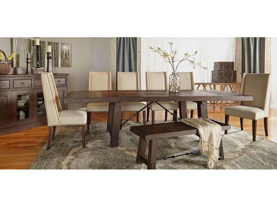 Rustic Java Trestle Dining Set W/Morgan Chair