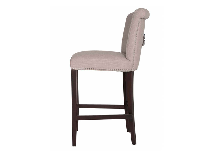 Luxe Espresso Almond Fabric Barstool Shop For Affordable
