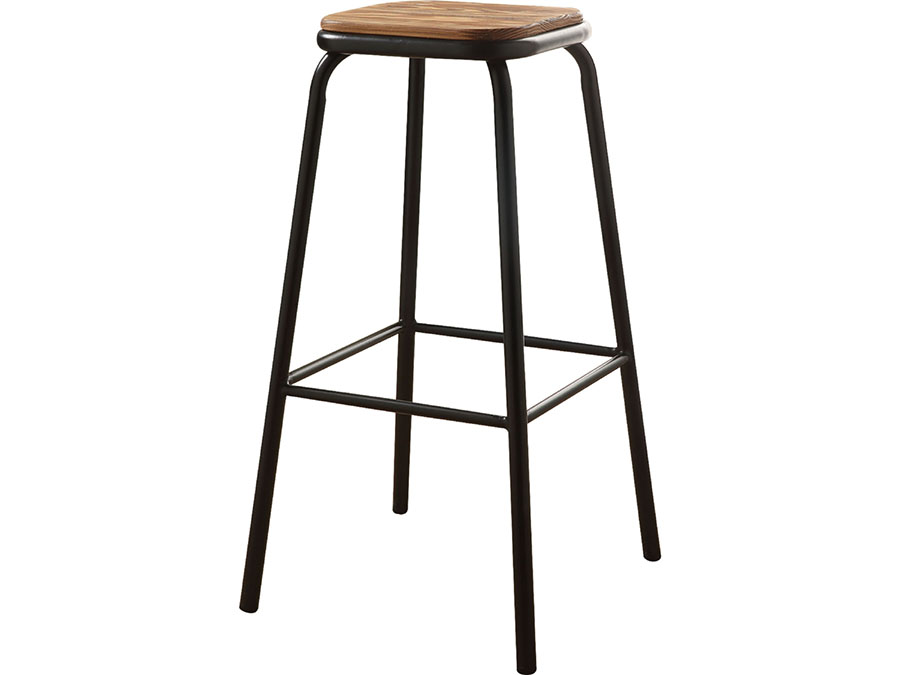 Scarus 2pcs Bar Stool In Natural Pine Amp Black Metal Shop