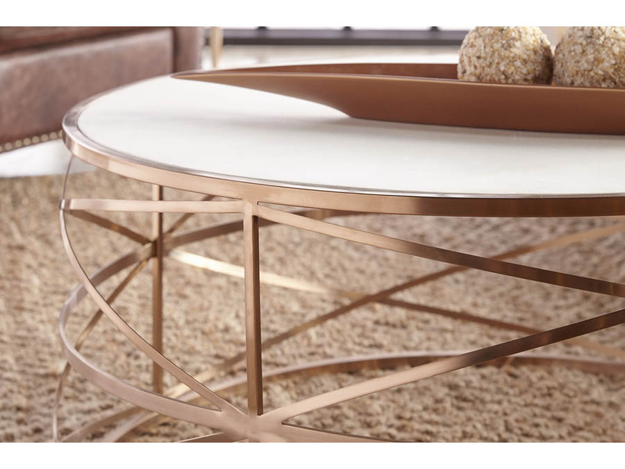 Bella Antique Brushed Rose Gold Melrose Round Coffee Table