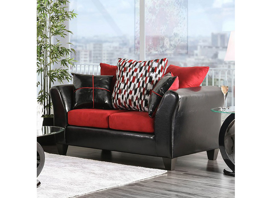 Braelyn Black Red Loveseat