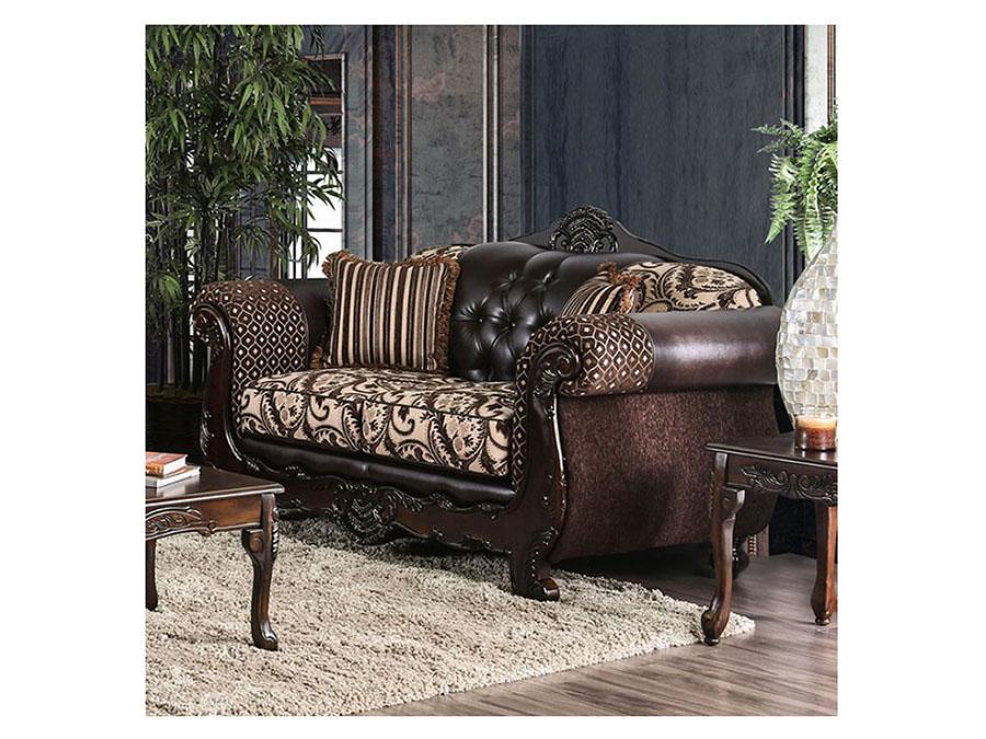 Quirino Dark Brown Sofa Set
