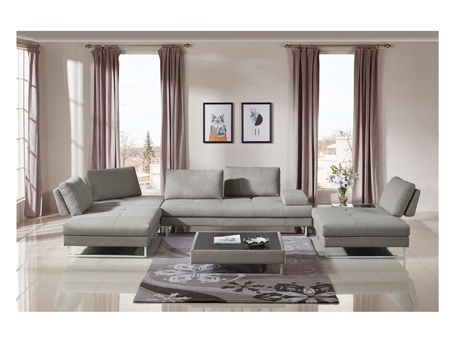 Grey Fabric Sectional Sofa U0026 Coffee Table Set