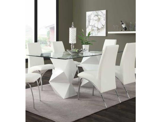 White Rectangular Glass Top Dining Table Chair Set Shop For