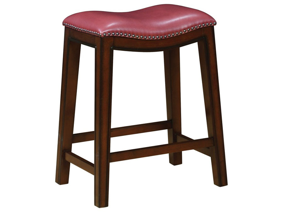 Genial 2Pcs Leather Counter Height Stool In Red