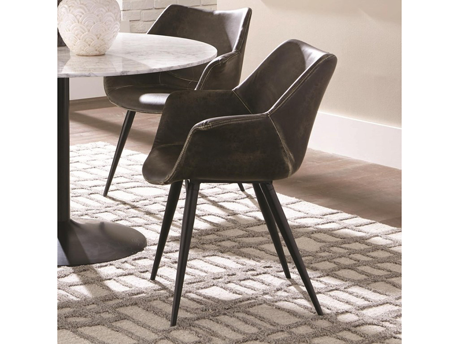 2pcs Brown Grey Side Chair