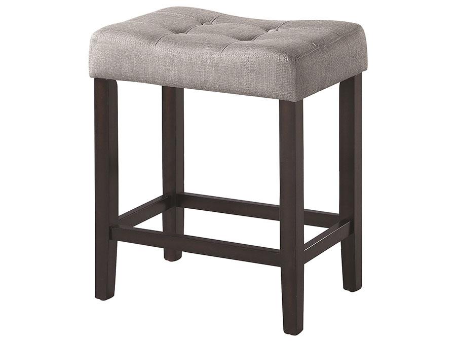 2pcs Grey Fabric Espresso Wood Counter Height Stool Shop