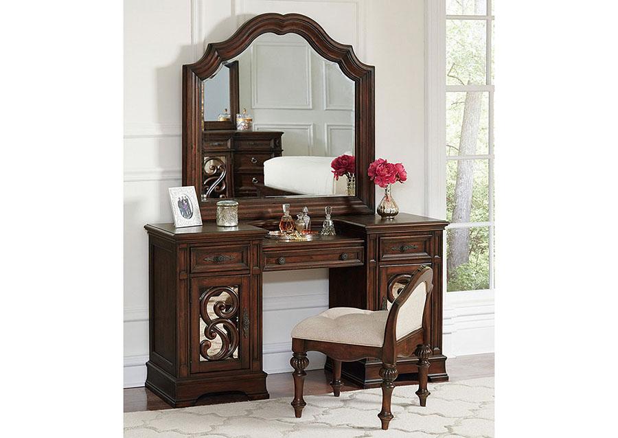Antique Java Vanity Desk And Mirror