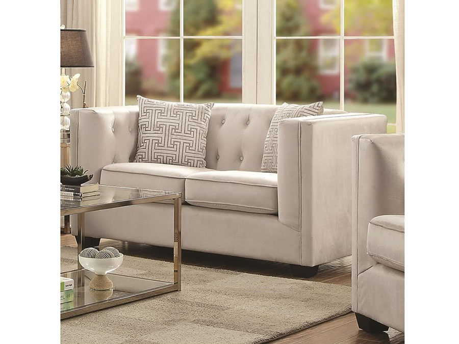 product tufted rentals events rental ivory loveseat lounge encore