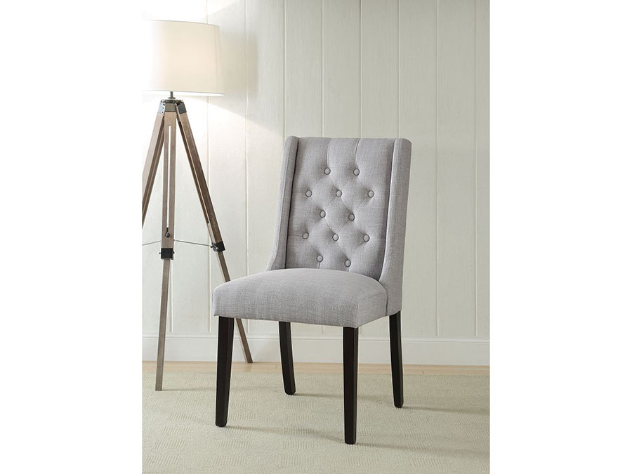 Light Gray Linen Dining Chairs: 2Pcs Linen Side Chair In Light Gray