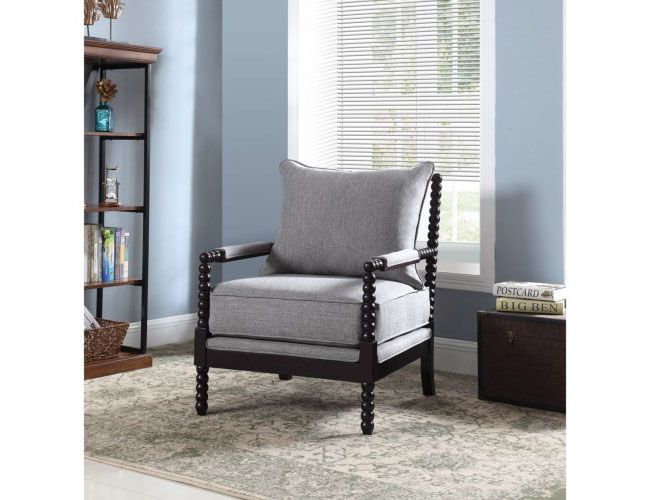 Marvelous Accent Chair W Beaded Frame In Grey Fabric Ocoug Best Dining Table And Chair Ideas Images Ocougorg