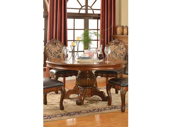Wood Round Dining Table In Brown Cherry