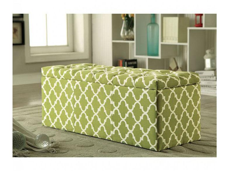 Zaira I Green Storage Ottoman