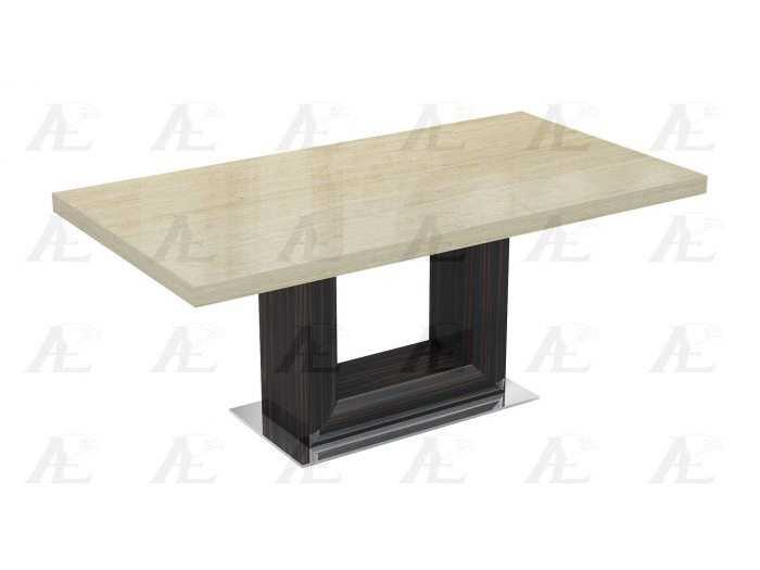 Brown And Ivory Marble Top Ebony Finish Dining Table Classic