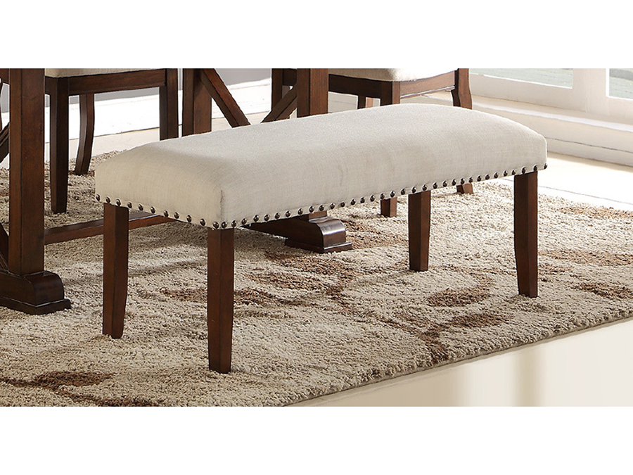 Superieur Fabric Dining Bench In Cream