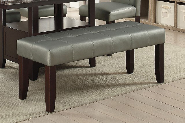 Faux Leather Dining Bench In Silver