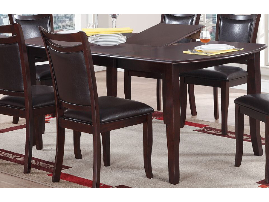Butterfly Leaf Rectangular Wood Top Dining Table In Dark Brown
