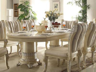 Wood Dining Table In Cream