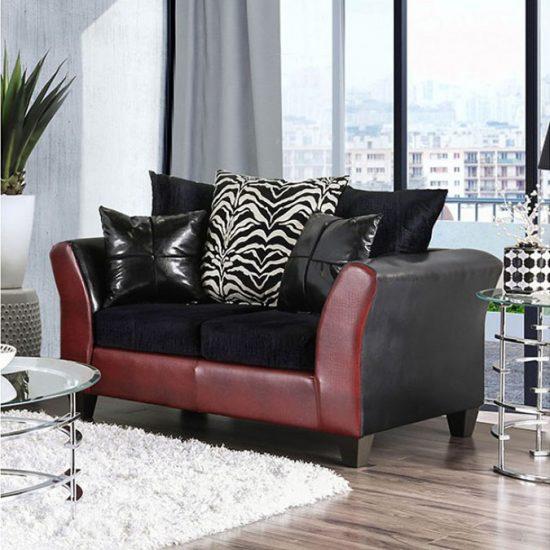 Kaelyn Black/Red Sofa Set