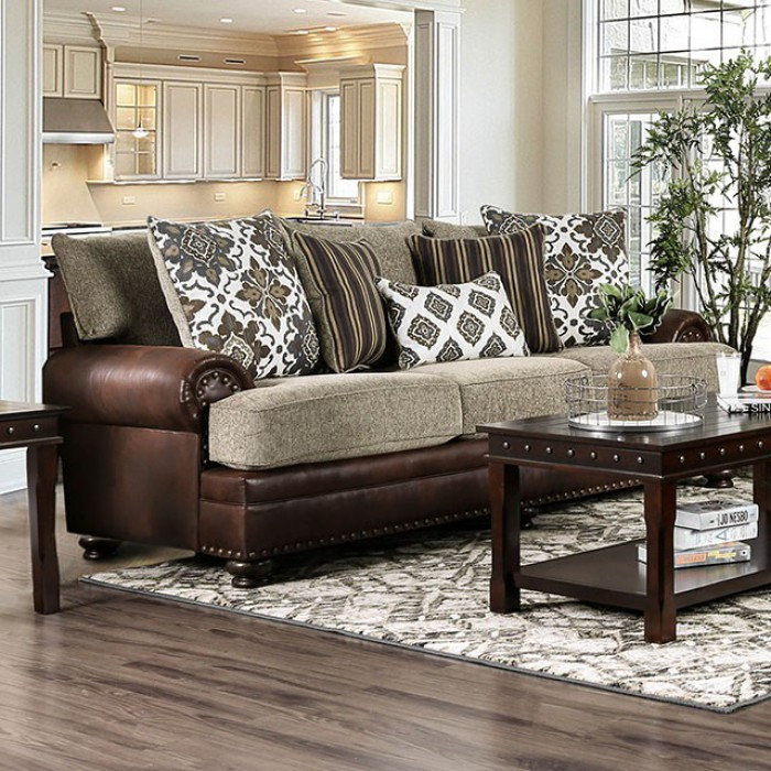 Amazing White Leather Sofa Decorating Ideas: Reyna Transitional Brown Sofa