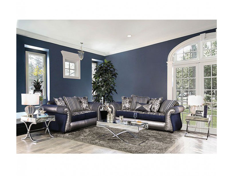 Katarina Navy/Silver Sofa Set - Shop for Affordable Home Furniture ...