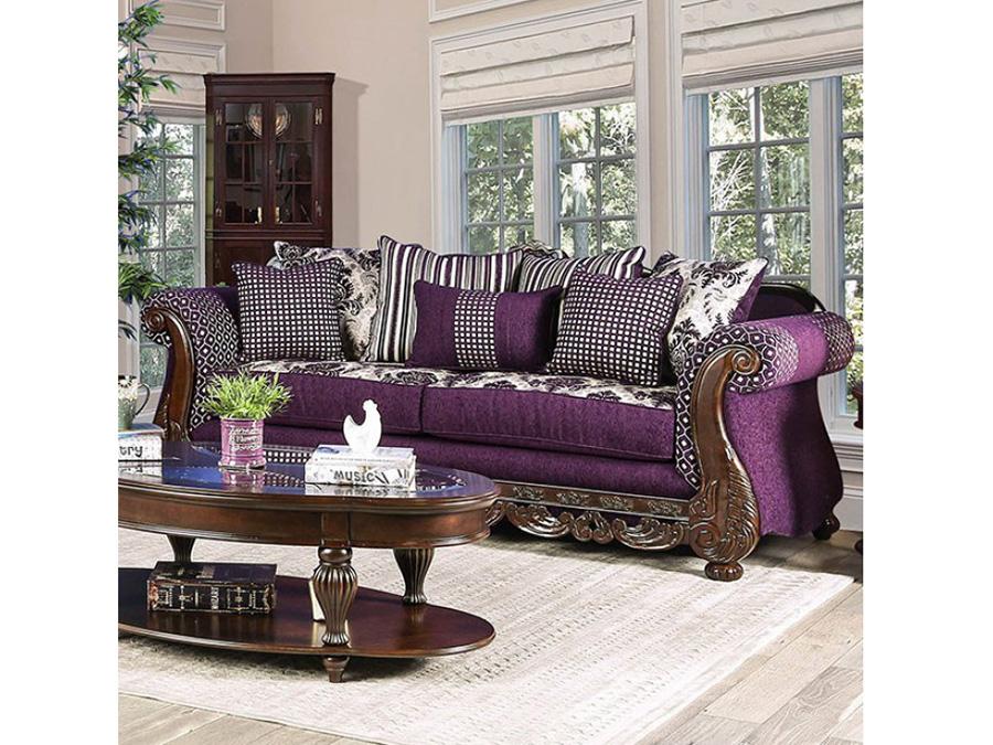 Emilia Purple Silver Sofa