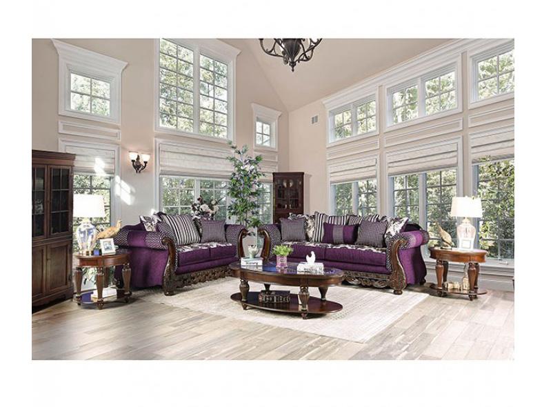 Emilia Purple/Silver Sofa Set