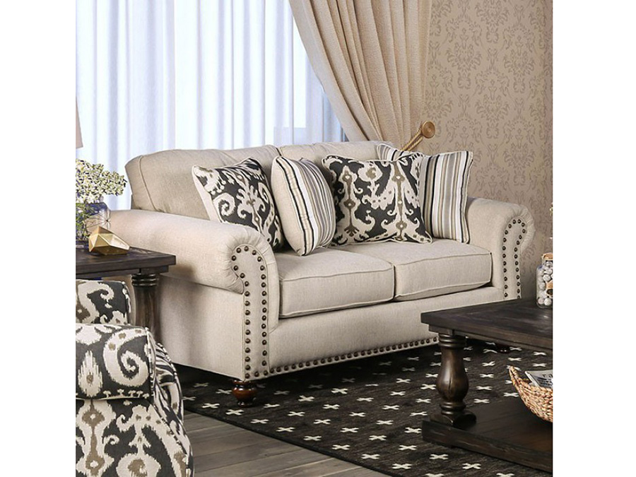 ivory w pillows acme in white velvet loveseat bone versailles