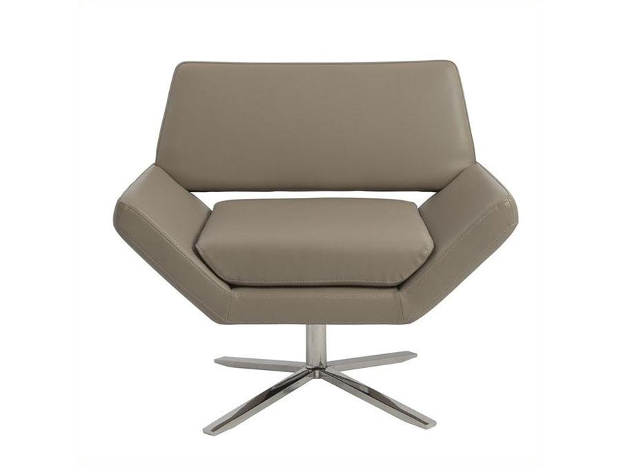 Carlotta Faux Leather Lounge Chair In Tan