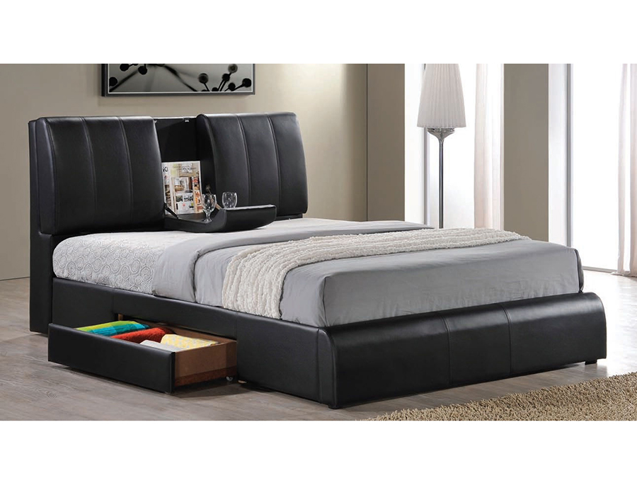 Elegant Kofi Cal.King Storage Bed In Black PU