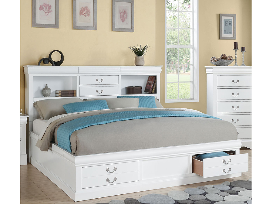 Louis Philippe III Cal.King Storage Bed in White - Shop for ...