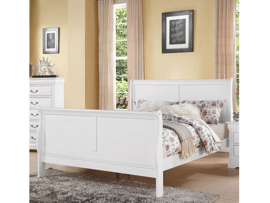 . Louis Philippe Queen Sleigh Bed in White