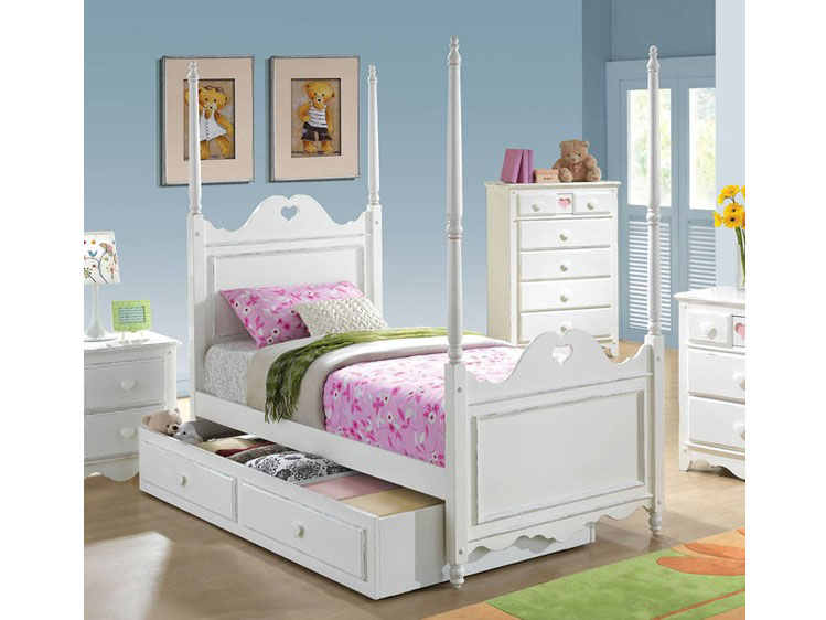 Sweetheart White Twin Bed With Trundle Storage Drawer Shop For