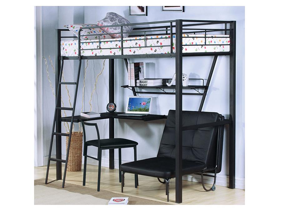 194 & Senon Silver And Black Metal Twin Loft Bed/Desk