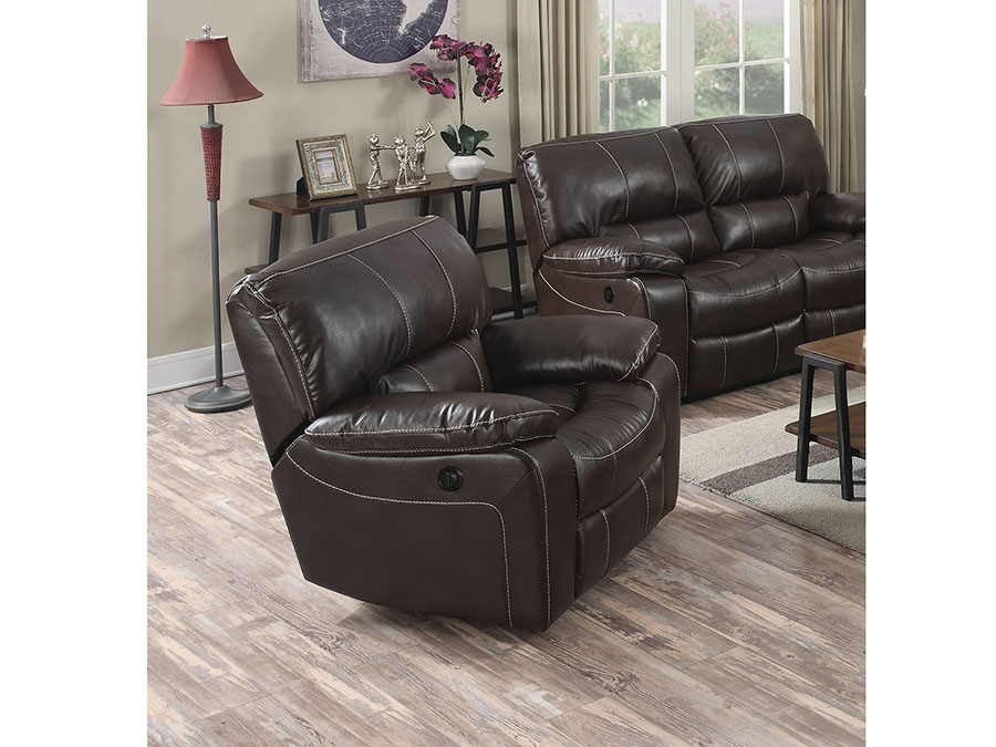 Kimberly Brown Leather Aire Power Motion Recliner