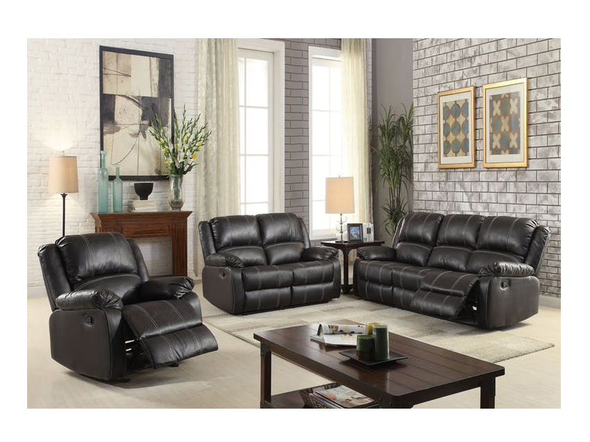 Zuriel Black PU Leather Reclining Sofa Set
