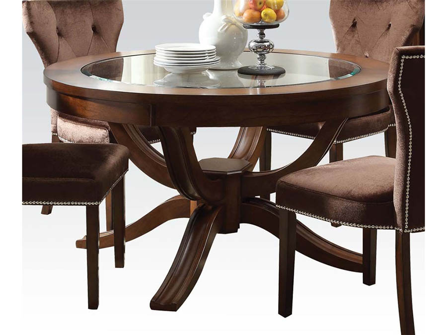 Kingston Round Dining Table In Brown Cherry