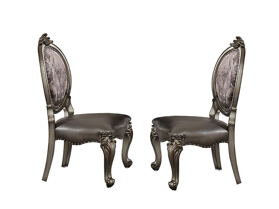 Versailles 2Pcs Side Chair In Silver And Antique Platinum