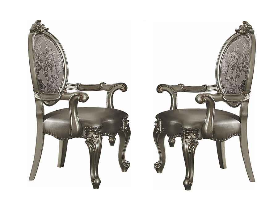 Versailles 2Pcs Arm Chair In Silver And Antique Platinum