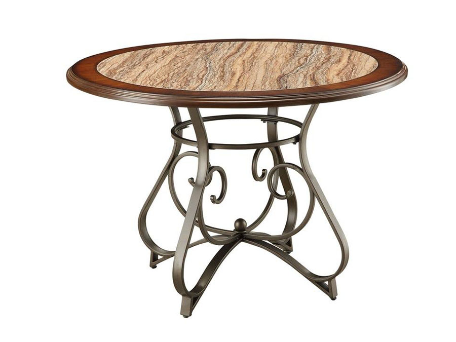 Barrie Round Dining Table In Cherry Oak And Dark Bronze