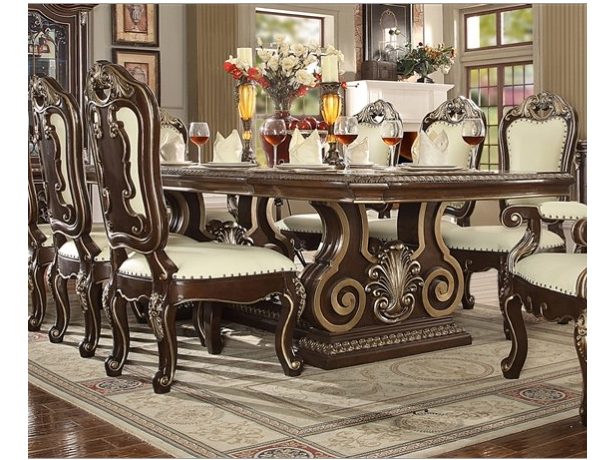 Traditional Wood Dining Set In Brown