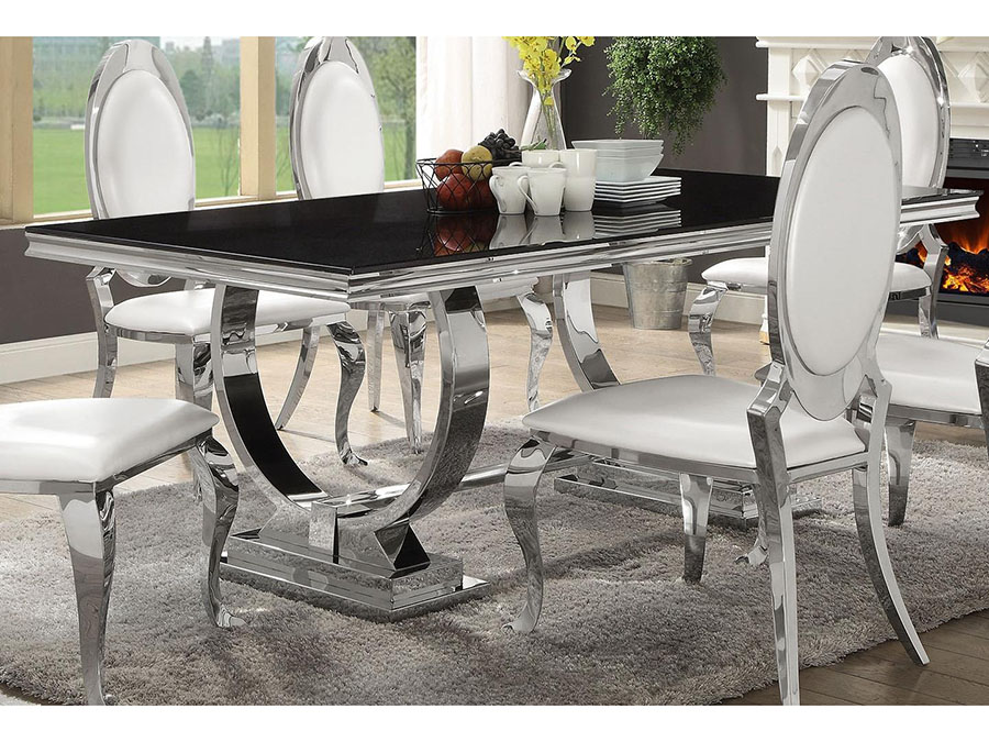 Antoine Black Tempered Glass Chrome Dining Table Set Shop For