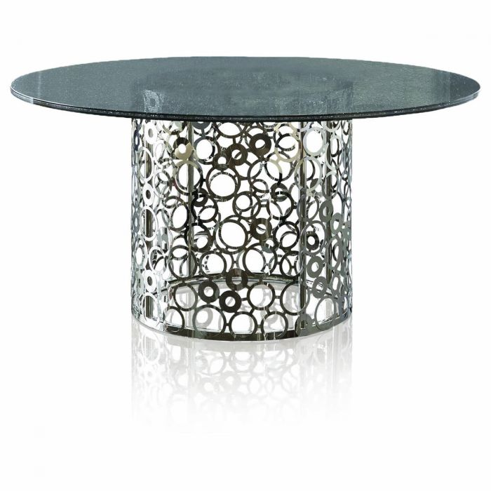 Omni Saturn Dining Table Base W Top In Stainless Steel