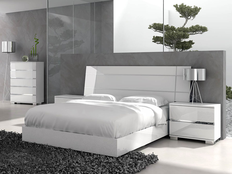 Vivente Icon Queen Bed In White High Gloss Shop For
